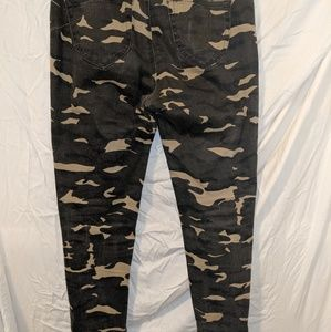 Pants - Camo ripped skinny jeans